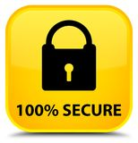 100% secure special yellow square button. 100% secure isolated on special yellow square button abstract illustration Stock Photography
