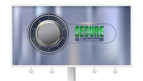 Secure SSL connection, billboard with poster, isolated on white. Concept security of information protected. Safe lock on. Metal surface. Safe data encryption Stock Photo