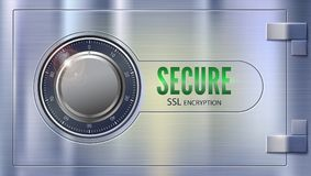 Secure SSL connection. Concept security of information and data protected. Metal door, safe lock on metallic surface. Safe data encryption technology, https Royalty Free Stock Images