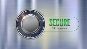 Secure SSL connection, 3D illustration. Concept security of information and data protected. Safe lock on metal surface. With texture. Safe data encryption Stock Image