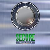 Secure SSL connection 3D illustration with digital lock. Concept security of information and data protected. Safe lock. On metal surface with texture. Data Royalty Free Stock Image