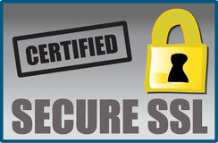 Secure SSL logo. A certified secure SSL (secure socket layer) lago tag. Let web site visitors know that they are visiting a secure web site. Fully scalable Stock Photo