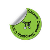 Secure SSL Peeled Sticker. A certified secure SSL (secure socket layer) logo peeling corner round sticker. Let web site visitors know that they are visiting a Stock Images