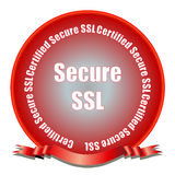 Secure SSL Seal. A certified secure SSL (secure socket layer) red gradient seal. Let web site visitors know that they are visiting a secure web site. Fully Stock Image