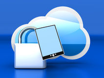 Secure tablet PC Cloud Royalty Free Stock Images