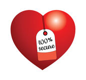 100% Secure tag. Illustration of heart with 100% Secure tag Royalty Free Stock Photography