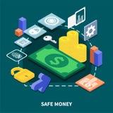 Secure Transaction Isometric Illustration. Isometric concept of secure financial transaction on dark background 3d vector illustration Royalty Free Stock Photos