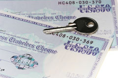 Secure Travelers Checks. Travels cheque Royalty Free Stock Photography