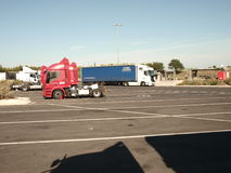 SECURE TRUCK AND TRAILER  TRANSPORT PARK Royalty Free Stock Photo