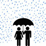 Secure Umbrella Couple Rain. Couple of people protected from rain, harm under a secure safety umbrella royalty free illustration