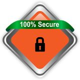 100 secure web button isolated on white background royalty free illustration