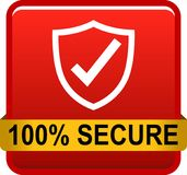100 secure web button. 100 percentage secure web button icon on isolated white background - vector illustration Royalty Free Stock Photos