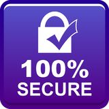 100 secure web button. 100 percentage secure web button icon on isolated white background - vector illustration stock illustration