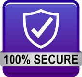 100 secure web button. 100 percentage secure web button icon on isolated white background - vector illustration Royalty Free Stock Photo