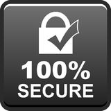 100 secure web button. 100 percentage secure web button icon on isolated white background - vector illustration Royalty Free Stock Images