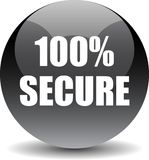 100 secure web button. 100 percentage secure web button icon on isolated white background - vector illustration royalty free illustration