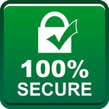 100 secure web button. 100 percentage secure web button icon on isolated white background - vector illustration Stock Photos