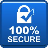 100 secure web button. 100 percentage secure web button icon on isolated white background - vector illustration Stock Image