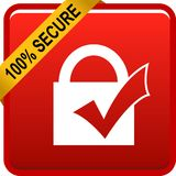 100 secure web button. 100 percentage secure web button icon on isolated white background - vector illustration Stock Photo