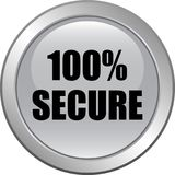 100 secure web button. 100 percentage secure web button icon on isolated white background - vector illustration vector illustration