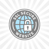 Secure website icon. Grey blue globe with SSL padlock sign. Royalty Free Stock Photo