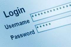 Secure Website Login Interface Screen Macro Royalty Free Stock Image