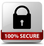 100% secure white square button red ribbon in middle. 100% secure isolated on white square button with red ribbon in middle abstract illustration Stock Photos