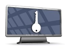 Secure Widescreen television. An illustration of a key on the front of a widescreen LCD television set Stock Image