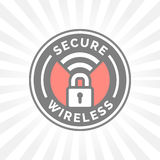 Secure wireless icon with padlock and wifi symbol stamp. Vector illustration Stock Photo
