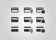 Secure and Wireless payments icons Stock Images