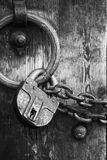 Secure Wooden Doors 6 - Black And White Royalty Free Stock Photo
