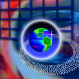 Secure World Global Technology. An image for the concept of Secure  Wireless World Global Technology. This computer generated graphic shows a views of the planet Royalty Free Stock Photography
