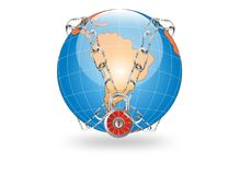 Secure the world. White globe to secure the world Royalty Free Stock Images