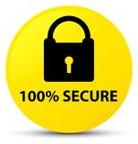 100% secure yellow round button. 100% secure  on yellow round button abstract illustration Stock Photo