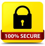 100% secure yellow square button red ribbon in middle. 100% secure isolated on yellow square button with red ribbon in middle abstract illustration Royalty Free Stock Photos