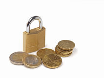 Secure investment. Secure your investment concept as shown by lock and euro coins royalty free stock images