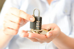 Secure your savings concept with cipher lock and money Royalty Free Stock Photography