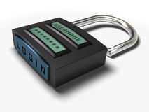Secured access. Username and password plus login button onto a padlock for secured access, image is isolated over white background royalty free illustration