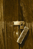 SECURED AGE. Was captured on a weathered wooden shed in the Finger Lakes of NY Stock Photos