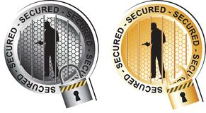 Secured Armed Man Sign. In gold and silver Stock Photos