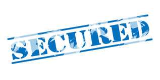 Secured blue stamp. On white background Royalty Free Stock Photos