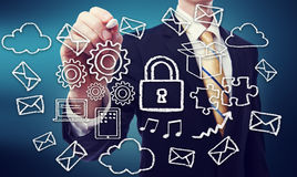 Secured Cloud Computing Concept Stock Photos