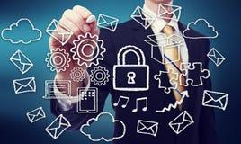 Secured Cloud Computing Concept Stock Photos