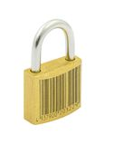 Secured by code. Photo is a perfect metaphor of being secured by code - Bar code is FAKE, background is pure white Royalty Free Stock Images