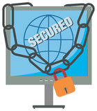 Secured Computer. Computer secured against viruses and other malicious attacks Royalty Free Stock Images