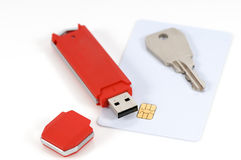Secured data 2. USB key and code card for data security on the PC and laptop Stock Images