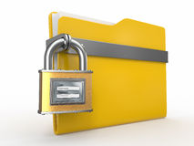 Secured  folder. Padlock with login and password. Confidential files. Folder and padlock with login and password Stock Photo