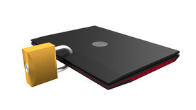 Secured laptop 3d illustration Royalty Free Stock Photography