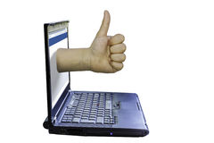 Secured laptop. With a thumb up isolated on white with PNG file format available stock photography