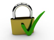 Secured lock with green tick Stock Image